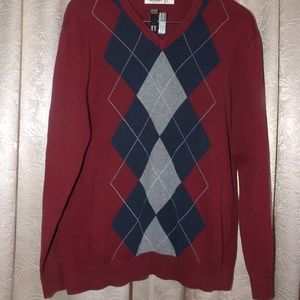 Mens OLD NAVY Sweater - Maroon - Sz LARGE - V Neck